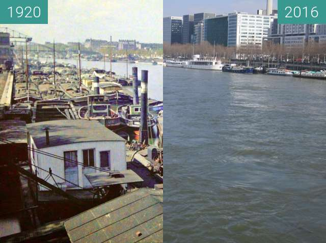 Before-and-after picture of Pont de Bercy between 1920 and 2016-Mar-14