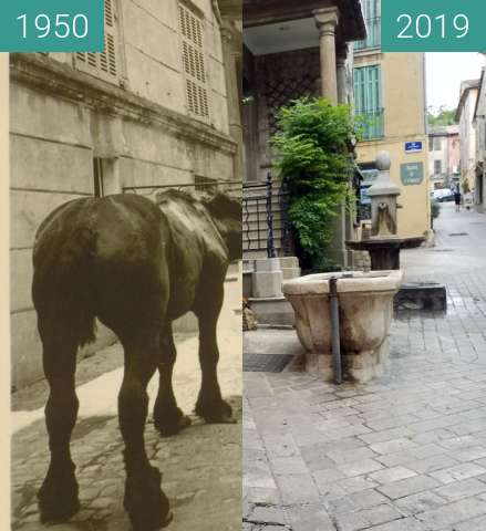 Before-and-after picture of Rephoto Valbonne 500 ans fontaine de la Mairie between 1950 and 2019-Jun-10