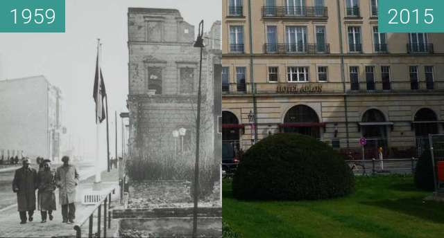 Before-and-after picture of Berlin - Hotel Adlon (Westfassade) 1959/2015 between 1959 and 04/2015