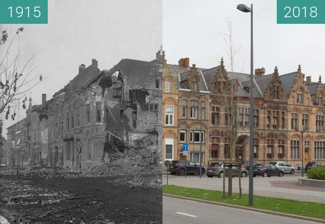 Before-and-after picture of ypres station between 1915 and 2018-Apr-12