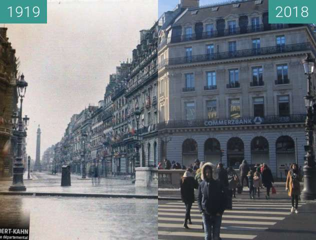 Before-and-after picture of Rue de la Paix between 1919-Jun-29 and 2018-Feb-10