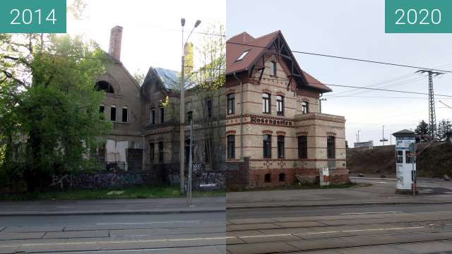 Before-and-after picture of Rosengarten in Halle (Saale) between 2014-Apr-20 and 2020-Dec-28