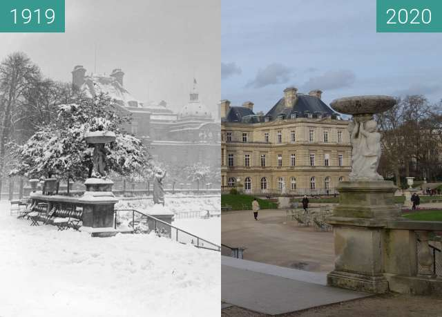 Before-and-after picture of Jardin du Luxembourg in winter between 1919 and 2020-Mar-09