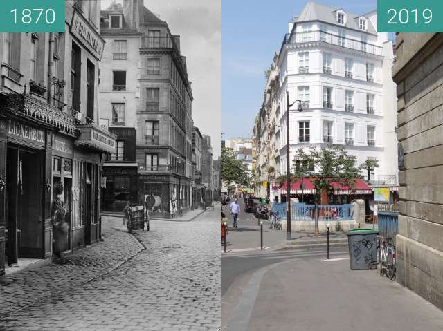 Before-and-after picture of Rue de l'École Polytechnique between 1870 and 2019-Jul-24