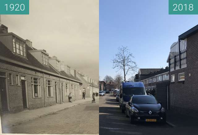 Before-and-after picture of C.W. bruinvisstraat Alkmaar between 1920 and 2018-Mar-14