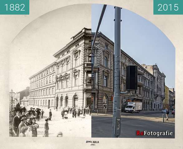 Before-and-after picture of Abel's House between 1882 and 2015