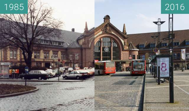 Before-and-after picture of Hauptbahnhof between 1985 and 03/2016