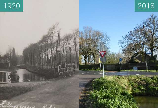 Before-and-after picture of The end of 'The Middenweg' in Heerhugowaard between 1920 and 2018-Aug-02