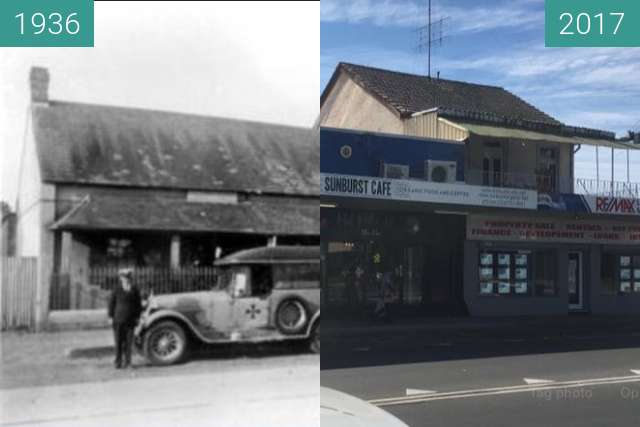 Before-and-after picture of High and Doonmore Streets, Penrith between 1936 and 2017