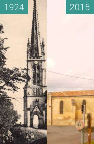 Before-and-after picture of Eglise Saint Martin between 1924-Aug-13 and 2015-Feb-23