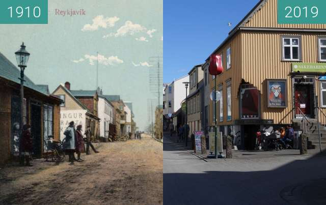 Before-and-after picture of Laugavegur between 1910 and 2019-May-27