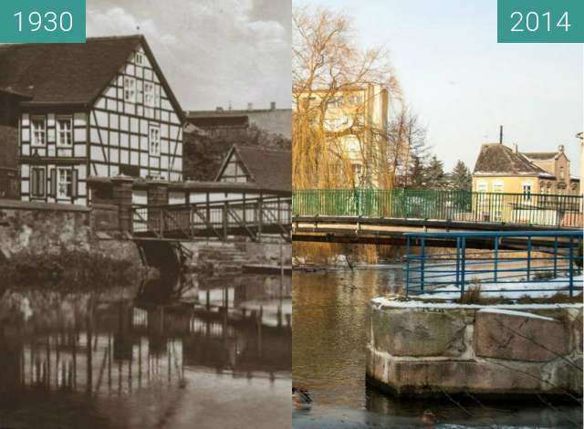 Before-and-after picture of Gryfice, rzeka Rega between 1930 and 2014