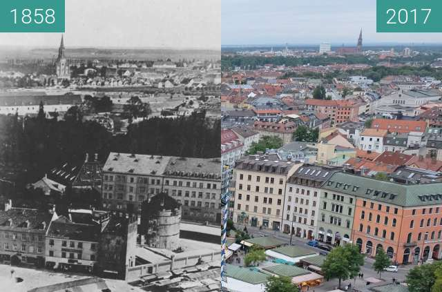 Before-and-after picture of München. Viktualienmarkt between 1858 and 2017-Sep-09