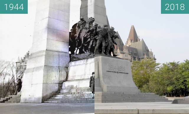 Before-and-after picture of National War Memorial, Ottawa Canada between 1944 and 2018-Aug-15