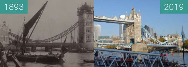 Before-and-after picture of Tower Bridge during construction between 1893 and 2019-Nov-10