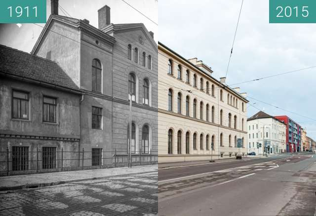 Before-and-after picture of Germanistisches Institut between 1911-Mar-21 and 2015-Dec-20