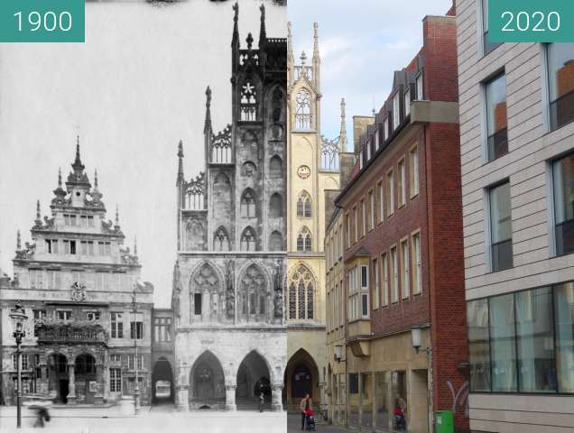 Before-and-after picture of Rathaus Münster between 1902 and 05/2020