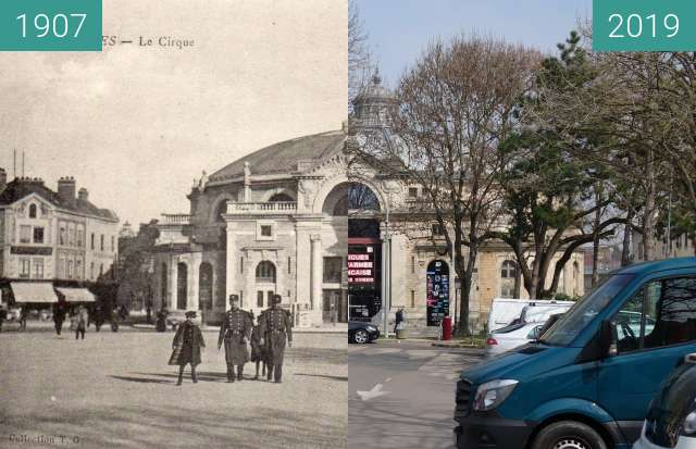 Before-and-after picture of Le Cirque between 1907 and 2019-Mar-23