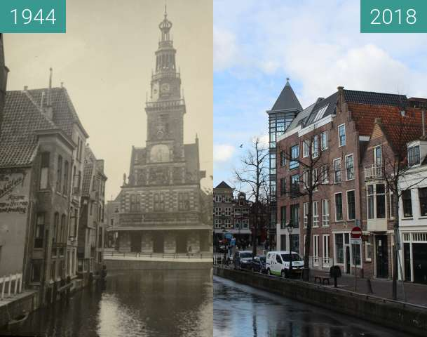 Before-and-after picture of The Waag building Alkmaar between 1944 and 2018-Feb-27