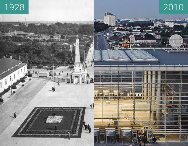 Before-and-after picture of Most Dworcowy between 1928 and 2010