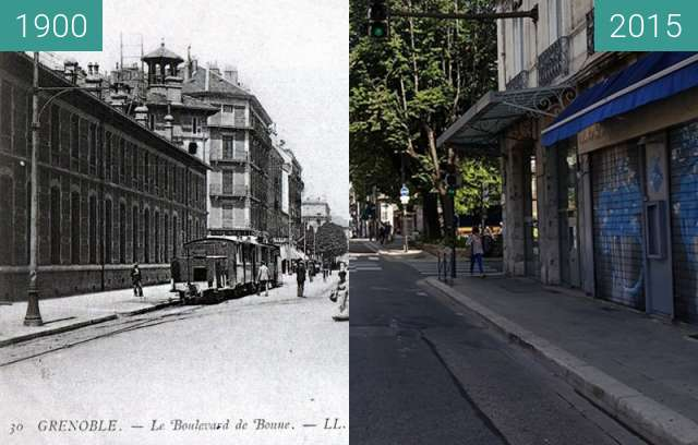 Before-and-after picture of Grenoble | Boulevard Agutte Sembat  between 1900 and 2015