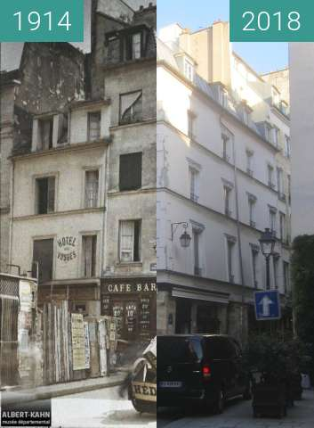 Before-and-after picture of Rue Tiquetonne between 1914 and 2018-Feb-17