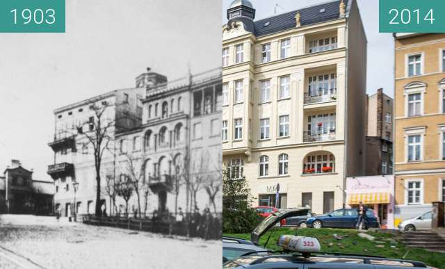 Before-and-after picture of Ulica Krysiewicza between 1903 and 2014-Aug-12