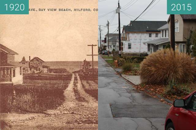 Before-and-after picture of Bayview Beach, Milford, Connecticut between 1920 and 2015-Nov-28
