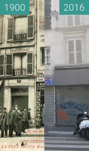 Before-and-after picture of Smallest house of Paris between 1900 and 2016-Oct-16