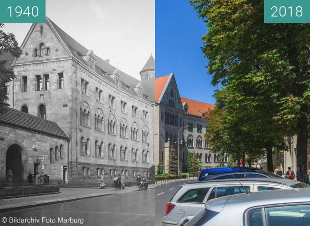 Before-and-after picture of Ulica Kościuszki between 1940 and 2018