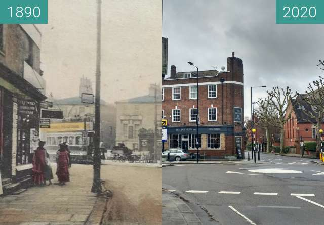 Before-and-after picture of Stamford Brook corner. between 1890 and 2020-Feb-27