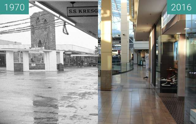 Before-and-after picture of Connecticut Post Mall between 1970 and 2016