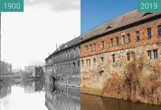 Before-and-after picture of Blick auf Wasserseite der Residenz between 1900 and 2019-Mar-21