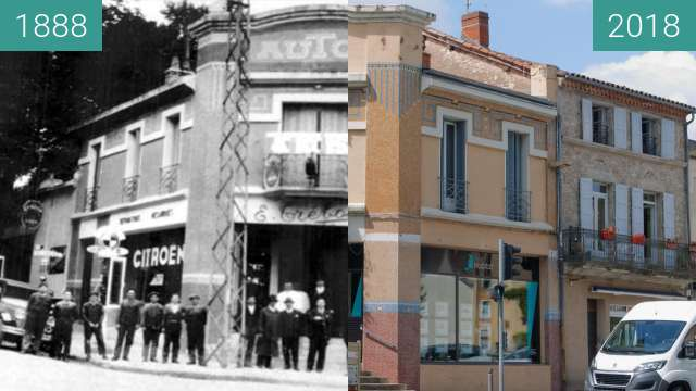 Before-and-after picture of Villefranche de Rouergue between 1888 and 2018-Jul-06