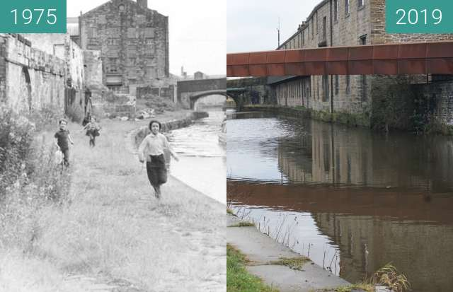 Before-and-after picture of Slater Terrace Terrace in Burnley, Lancs (Wide) between 1975 and 2019-Dec-22