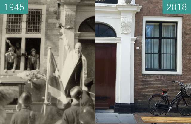 Before-and-after picture of Mayor van Kinschot before City Hall Alkmaar 1945 between 1945 and 2018-Apr-24