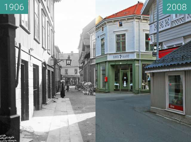 Before-and-after picture of Kragerø between 1906 and 2008