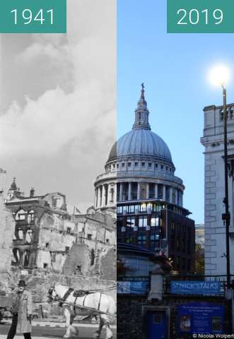 Before-and-after picture of St. Paul's Cathedral between 1941 and 2019-Nov-10