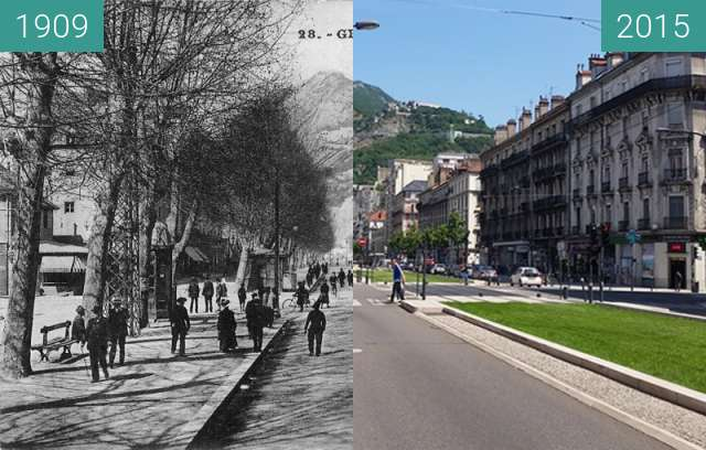 Before-and-after picture of Grenoble | Cours Saint André  between 1909 and 2015