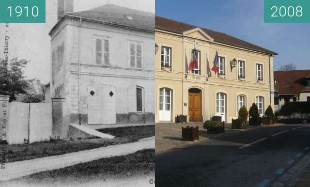 Before-and-after picture of Mairie de Coupvray between 1910 and 2008-Jan-26