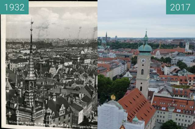 "Before-and-after picture of München: Blick vom ""Alten Peter"" ins Tal (1) between 1932 and 2017-Sep-09"