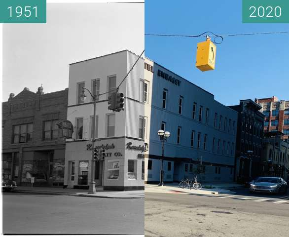 Before-and-after picture of Embassy Hotel, Ann Arbor between 1951-Oct-20 and 2020-Jul-12