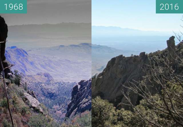 Before-and-after picture of Boot Canyon at Big Bend National Park between 1968 and 2016-Jan-15