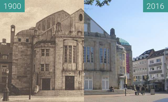 Before-and-after picture of Theater Osnabrück between 1900 and 2016-Aug-31
