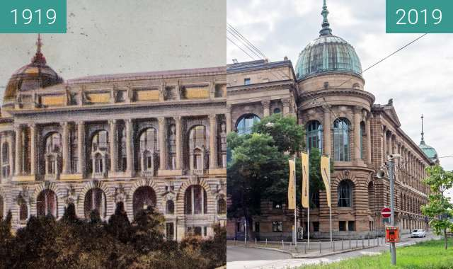 Before-and-after picture of Stuttgart - Landesgewerbemuseum between 1919 and 2019-Aug-28