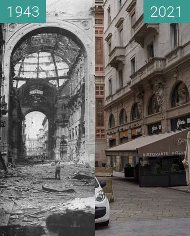 Before-and-after picture of Mailand, Galleria Vittorio Emanuele II between 08/1943 and 2021-Aug-22