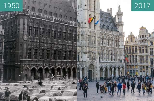 Before-and-after picture of Grand-Place, Bruxelles between 1950 and 2017
