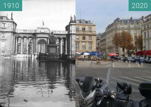 Before-and-after picture of Assemblée Nationale (Great Flood) between 1910-Jan-29 and 09/2020