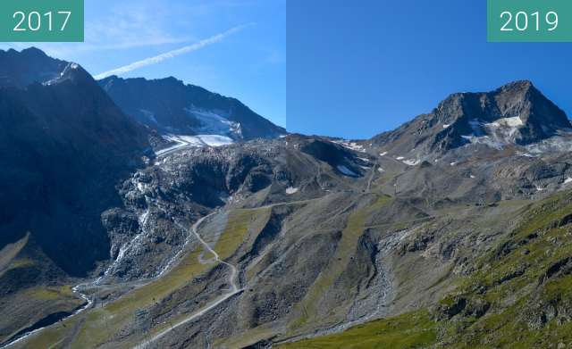 Before-and-after picture of Stubai Glacier 3 between 2017-Aug-30 and 2019-Aug-27