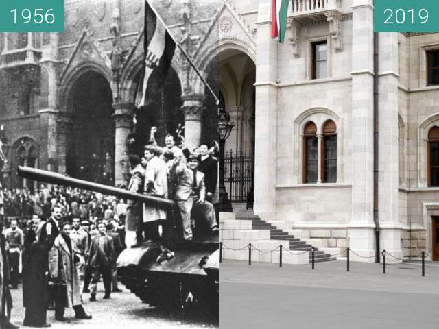 Before-and-after picture of Hungarian Uprising 1956 between 10/1956 and 2019-May-01